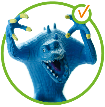 Blaues Spielzeugmonster